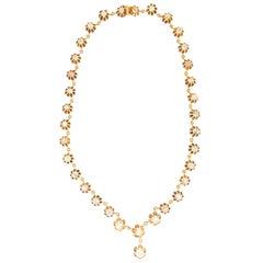 Handcraft 14 Karat Yellow Gold Diamonds Choker Necklace