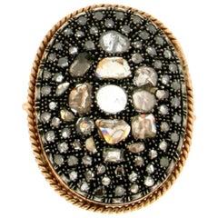 Handcraft 14 Karat Yellow Gold Diamonds Cocktail Ring