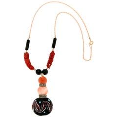 Handcraft 14 Karat Yellow Gold Diamonds Coral Onyx and Murrina Pendant Necklace