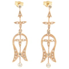 Handcraft 14 Karat Yellow Gold Diamonds Drop Earrings