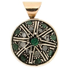 Handcraft 14 Karat Yellow Gold Diamonds Emeralds Pendant Necklace