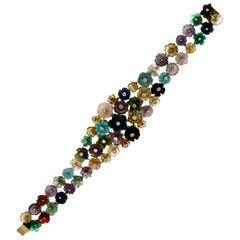 Handcraft 14 Karat Yellow Gold Diamonds Flowers Cuff Bracelet