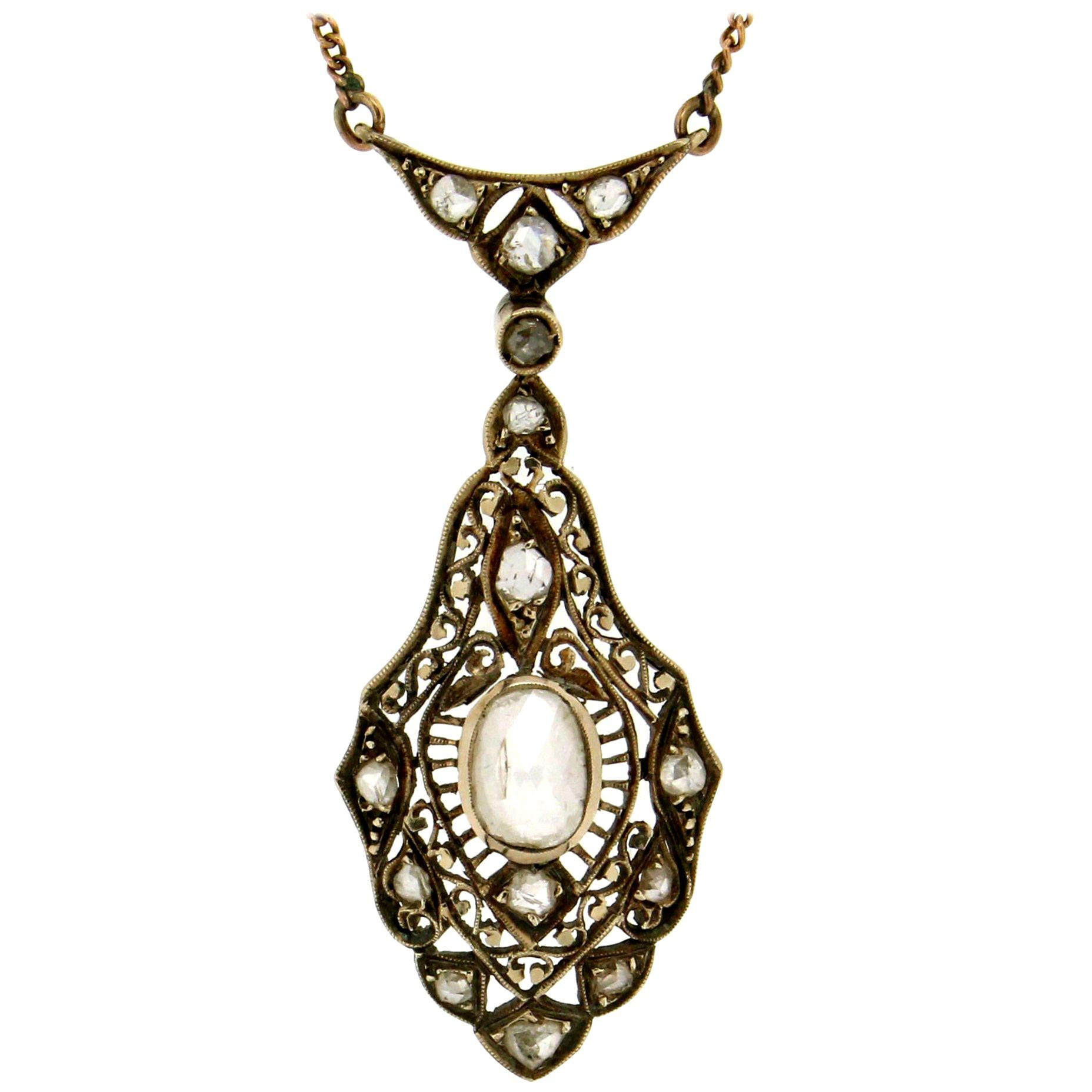 Handcraft 14 Karat Yellow Gold Diamonds Pendant Necklace