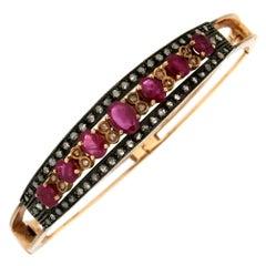 Handcraft 14 Karat Yellow Gold Diamonds Ruby Bangle Bracelet