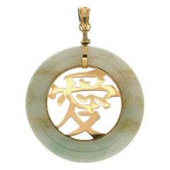 Handcraft 14 Karat Yellow Gold Jade Pendant Necklace