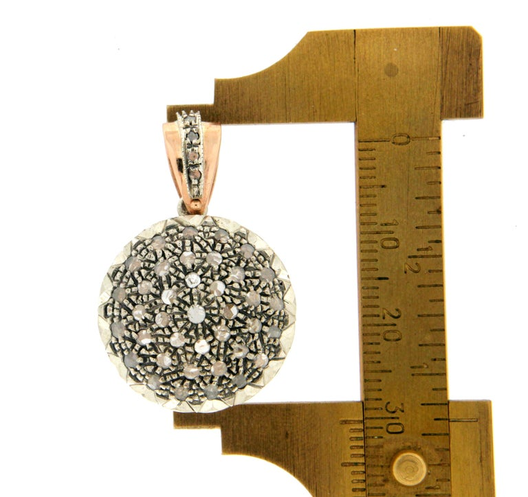 Handcraft 14 Karat Yellow Gold Rose Cut Diamonds Pendant Necklace In New Condition For Sale In Marcianise, IT