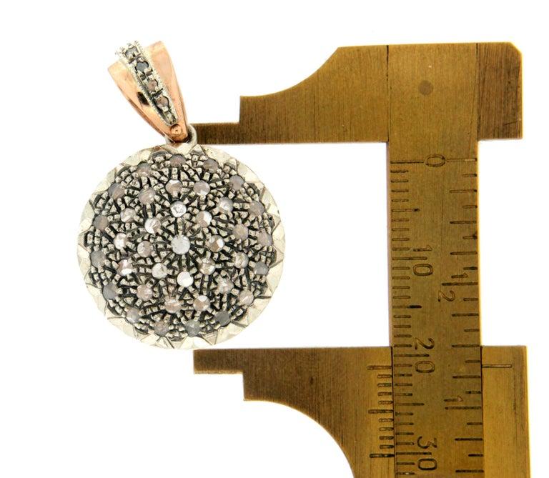 Women's or Men's Handcraft 14 Karat Yellow Gold Rose Cut Diamonds Pendant Necklace For Sale