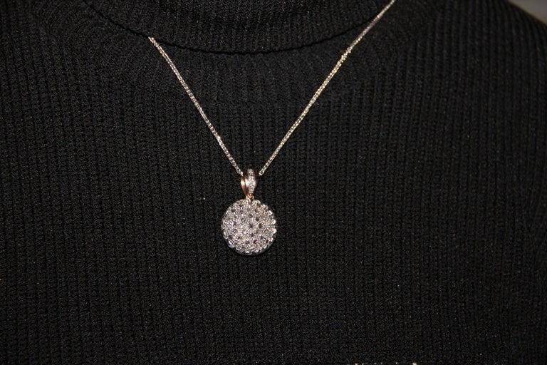 Handcraft 14 Karat Yellow Gold Rose Cut Diamonds Pendant Necklace For Sale 1