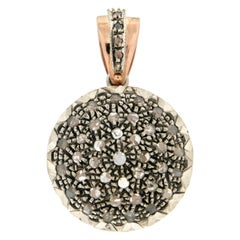Handcraft 14 Karat Yellow Gold Rose Cut Diamonds Pendant Necklace