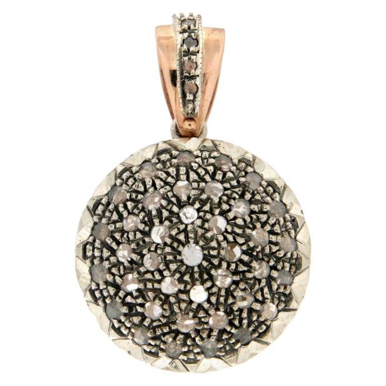 Handcraft 14 Karat Yellow Gold Rose Cut Diamonds Pendant Necklace For Sale