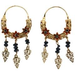 Handcraft 14 Karat Yellow Gold Sapphires Drop Earrings