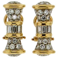 Handcraft 18 Karat White and Yellow Gold Diamonds Clip-On Earrings