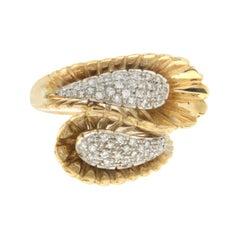 Handcraft 18 Karat White and Yellow Gold Diamonds Cocktail Ring
