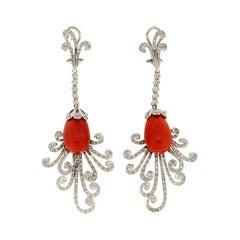 Handcraft 18 Karat White Gold Coral Diamonds Drop Earrings