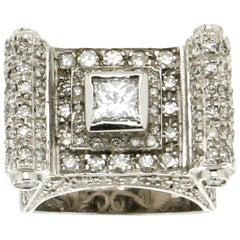 Handcraft 18 Karat White Gold Diamonds Cocktail Ring