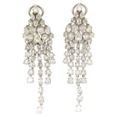 Handcraft 18 Karat White Gold Rose Cut Diamonds Drop Earrings