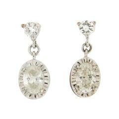 Handcraft 18 Karat White Gold Diamonds Drop Earrings
