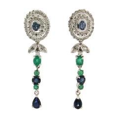 Handcraft 18 Karat White Gold Diamonds Emeralds Sapphires Drop Earrings