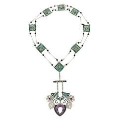Handcraft 18 Karat White Gold Diamonds Onyx Amethyst Rubies Enamel Necklace