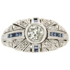 Handcraft 18 Karat White Gold Diamonds Sapphires Cocktail Ring
