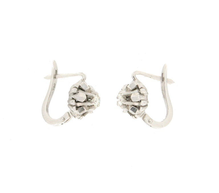 Artisan Handcraft 18 Karat White Gold Diamonds Stud Earrings For Sale