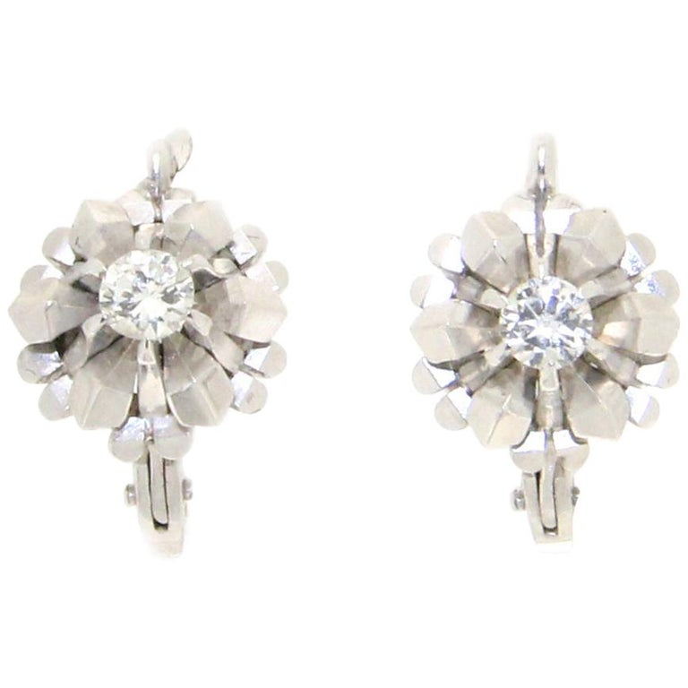 Handcraft 18 Karat White Gold Diamonds Stud Earrings For Sale
