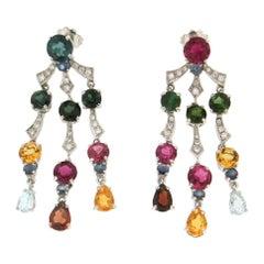 Handcraft 18 Karat White Gold Diamonds Tourmaline Sapphires Drop Earrings