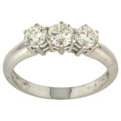Handcraft 18 Karat White Gold Diamonds Trilogy Engagement Ring