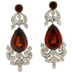 Handcraft 18 Karat White Gold Madera Citrine Diamonds Drop Earrings