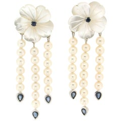 Handcraft 18 Karat White Gold Mother of Pearls Sapphires Drop Earrings