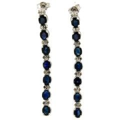 Handcraft 18 Karat White Gold Sapphires Diamonds Drop Earrings