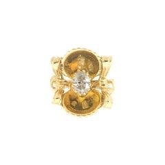 Handcraft 18 Karat Yellow Gold Diamond Cocktail Ring