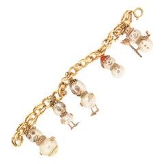 Handcraft 18 Karat Yellow Gold Diamonds Pearls Charm Bracelet