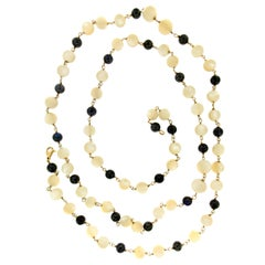 Handcraft 18 Karat Yellow Gold Moonstone and Black Opal Beaded Necklace