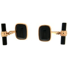 Handcraft 18 Karat Yellow Gold Onyx Cufflinks