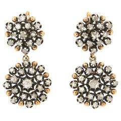 Handcraft 18 Karat Yellow Gold Rose Cut Diamonds Clip-On Earrings