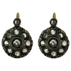 Handcraft 18 Karat Yellow Gold Rose Cut Diamonds Drop Earrings