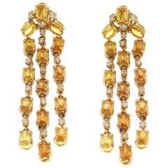 Handcraft 18 Karat Yellow Gold Sapphires Diamonds Drop Earrings