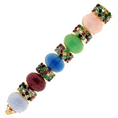Handcraft 18 Karat Yellow Gold Sapphires Ruby Emeralds Quartz Cuff Bracelet