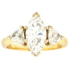 Handcraft 2.85 Karat Marquise Diamonds 14 Karat Yellow Gold Wedding Ring