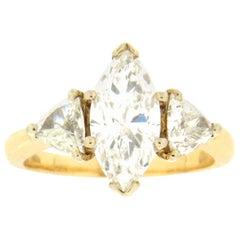 Handcraft 2.85 Karat Marquise Diamonds 18 Karat Yellow Gold Wedding Ring