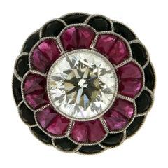 Handcraft 3.80 Karat Central Diamond Platinum Ruby Onix Cocktail Ring