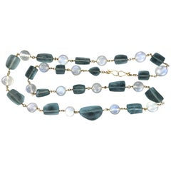 Handcraft 800 Karat Silver Moonstones Aquamarine Beaded Necklace