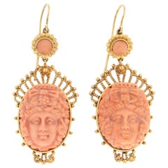 Handcraft 9 Karat Yellow Gold Coral Drop Earrings