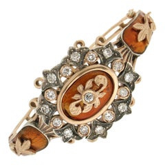 Handcraft 9 Karat Yellow Gold Diamonds Clamper Bracelet