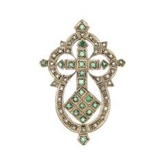 Handcraft 9 Karat Yellow Gold Diamonds Emeralds Pendant Necklace