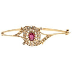 Handcraft 9 Karat Yellow Gold Diamonds Ruby Bangle Bracelet