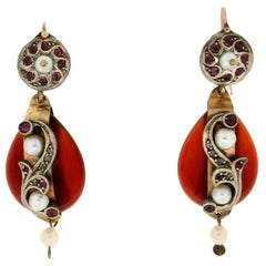 Handcraft 9 Karat Yellow Gold Diamonds Ruby Carnelian Pearls Dangle Earrings