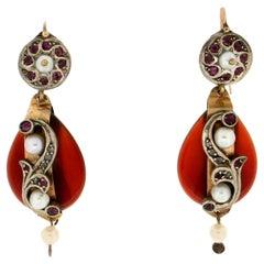 Handcraft 9 Karat Yellow Gold Diamonds Ruby Carnelian Pearls Dangle Earrings