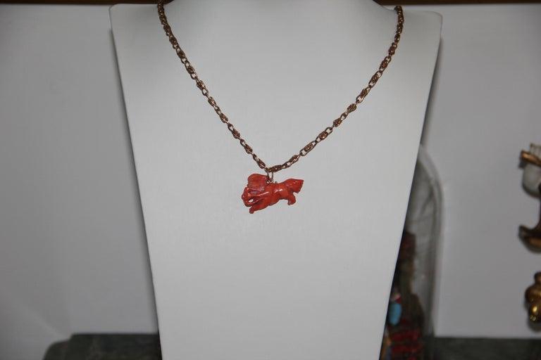 Women's or Men's Handcraft 14 Karat Yellow Gold Pendant Necklace For Sale